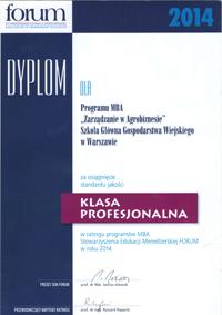 Dyplom 2014 Zarządzanie w Agrobiznesie SGGW w Warszawie